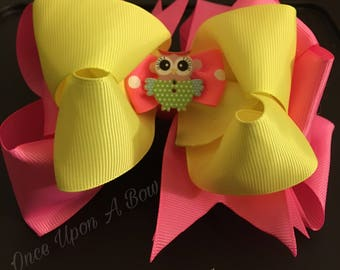 Pink and Yellow Hair Bow