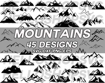mountain svg, hill svg, nature svg, rock svg, clipart, decal, stencil, vinyl, cut file, iron on, silhouette, monogram, cuttable file