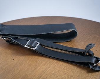 Vintage Black Leather Camera Strap