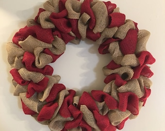 Two Color Burlap Wreath (Red/Beige)