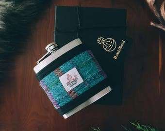 Harris Tweed Sky Blue Hip Flask Gift Boxed 6oz, Groomsmen Gift, Whiskey Flask, Fathers Day Gift