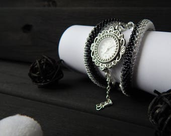 Black and white wrist watch. Black and white watch from beads. Beaded Jewelry