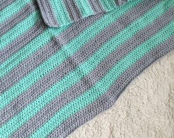 Striped Preemie crochet baby blanket, mint and grey, boy or girl.