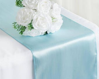 SALE FIVE Blue Satin Table Runners Easter Wedding Table Boy Cloth Satin Wholesale Baby Shower Pastel Light Cheap Party Nautical Spring