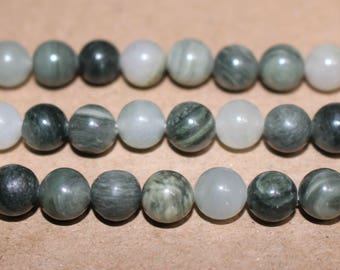 15 Inches Full strand,Natural Green Hair Jasper Smooth round beads 6mm 8mm 10mm 12mm ,loose beads,semi-precious stone