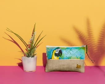 Blue and Gold Macaw Handpainted Summer Pouch | Handmade from the Philippines