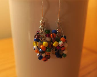 Silver Plated Multi Colored Seed Bead Earrings