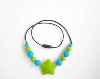 Child necklace, teething necklace, anti-stress, silicone, Star beads