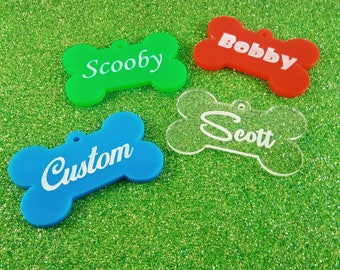 Custom Pet ID / Custom pet name tag /Acrylic Dog Tag / Pet Tag / Cute Bone ID / Puppy ID