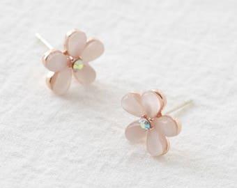 pink small flower earring