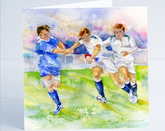 Rugby Match Greeting Card - Taken from an original watercolour.