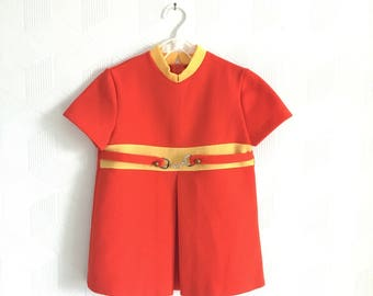 Vintage 60s mod dress in orange and yellow, 18-24 months.