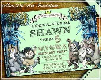 Where The Wild Things Are Invitation.Where The Wild Things Are Party.Where The Wild Things Are Card.Rumpus Invite.Where The Wild Things-A104