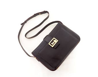Vintage Celine DarkBrown Hourse Carriage Logos Shoulder Bag