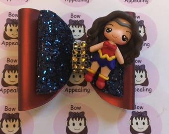 Superhero double layer red and blue glitter bow for girls, party hair, dress up hair