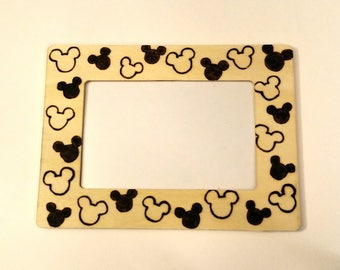 Mickey Woodburnt Picture Frame 4x6