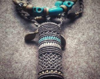 Handmade macrame turquoise lighter case, lighter necklace, lighter cover, lighter chain, lighter leash