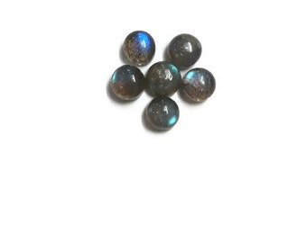 7MM  Blue Labradorite Smooth round Cabochon, pack of 6 PCS, Flash code B