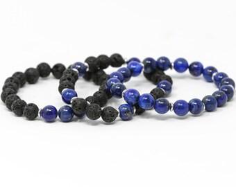 Lapis Lazuli + Lava Beads Aromatherapy Bracelets - Set of 3