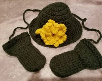Green Baby Girl Brimmed Hat with Yellow Flower and Green Thumbless Mittens