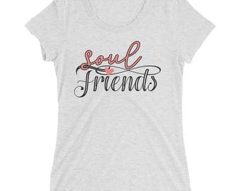 soulmates best friends forever friendship girlfriends Ladies' short sleeve T-shirt love heart Tees