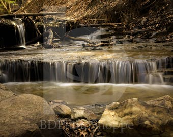 Small Waterfall in the Forest | Landscape Photo Art | Gift | Fine Art Photography | Personalization | BDPhotoShoppe | Home Office Decor
