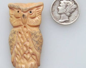 Antiqued Bone Owl Pendant Bead 28 x 60mm