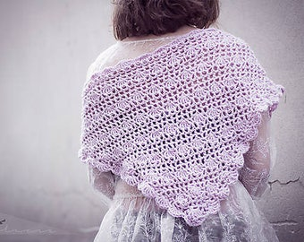 Ready to go! Crochet triangle rose scarf/romantic scart/dusty rose scarf/handmade crochet scarf/romantic hadmade shawl