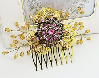 Pink hair comb, gold hair comb, bridal hairpiece, wedding hair piece, flower hair comb, blush pink hair comb, hair jewelry