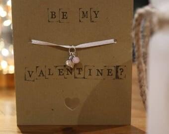 Valentine's Day card bracelet with heart