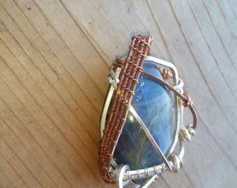 Crystal gemstone neclace, laboridite pendant, silver jewelry