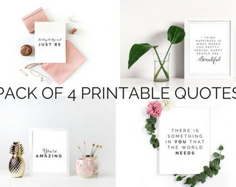 Printable POSITIVE Quotes | Pack of 4 | Instant Download PNG