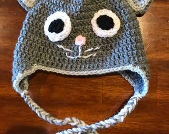 Grey Cat Crochet Hat