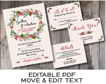 Winter wedding invitation Rustic wedding invite printable Holiday winter wedding invitation template Holly winter wreath invite - DIGITAL