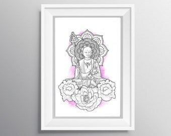 Original watercolor Buddha / Buddha original watercolor