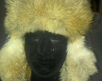 Genuine Coyote Fur Aviator Hat Trapper Hat
