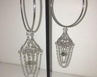 Silver hoops / chandelier chain charm