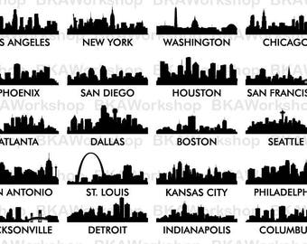 American City Skyline svg - American City Skyline - American City Skyline digital clipart for Design or more, files download svg, png
