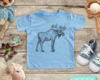 Moose graphic Illustration Zoo animal wild kingdom Shirt - Baby bodysuit Toddler youth Shirt cute birthday baby shower gift