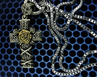 Barbed Wire Cross With Rose  Pendant Necklace, Free Shipping