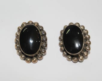 Vintage 925 Sterling silver earrings with black onyx