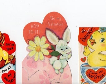 Lot of 3 Spring Easter Themed Valentines | Greeting Cards | Valentine's Day, Valentine, Anthropomorphic | Bunny,  Chicks | Paper Ephemera