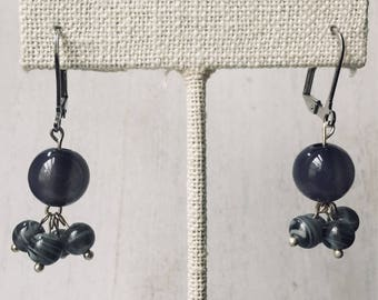 Gray Beaded Cluster Earrings