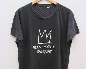 JEAN-MICHEL BASQUIT Big Logo Black Vintage Tee T Shirt Size L
