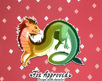 Chinese New Year Dragon, Illustrated Vinyl Die Cut Sticker with an Eastern Dragon Design