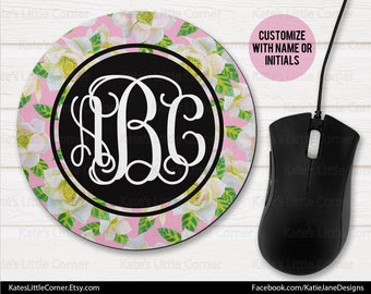 Custom Mouse Pad, Monogram Mouse Pad, Watercolor Mousepad, Personalized, Round Mousepad, Personalized, Monogram Mousepad, Office Gift