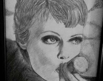 Mia Farrow Eating Ice Cream Cone Illustrated Graphite Artwork Paparazzi