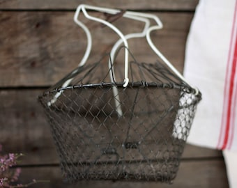 French antique iron wire salad basket. French decor. Wire basket 50s. French wire fish basket. Fishing basket. French eggs basket. Bourriche