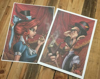 Vintage lady and gentleman prints