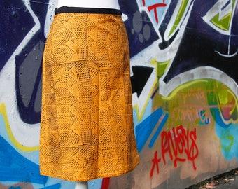 Wrap Skirt Indigenous Fabric Babbarra Design  Burnt Orange Size 10 (S)